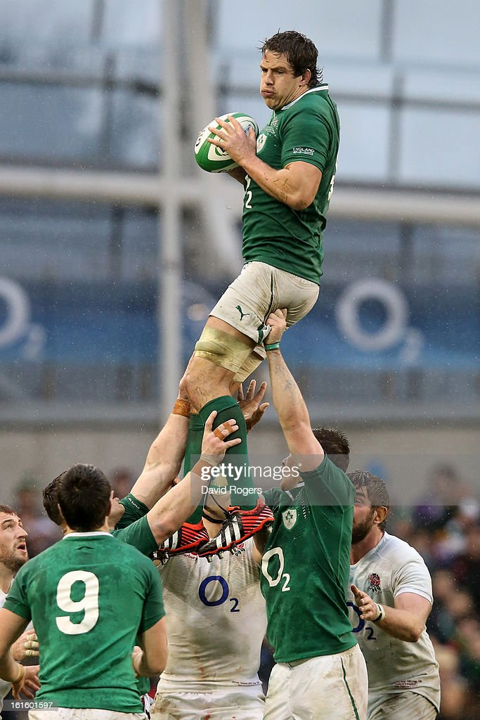 Mike McCarthy of Ireland wins lineout ball during the RBS Six Nations match between Ireland and England at Aviva Stadium on February 10, 2013 in Dublin, Ireland.