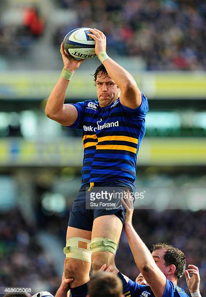 Mike McCarthy of Leinster wins a lineout during the European Rugby Champions Cup Quarter Final match between Leinster Rugby and Bath Rugby at Aviva...