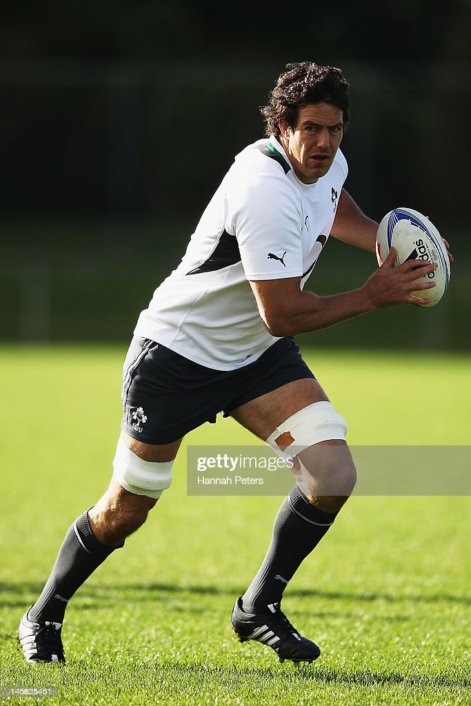 Mike McCarthy runs through drills during an Ireland rugby team training session at Onewa Domain on June 7, 2012 in Takapuna, New Zealand.