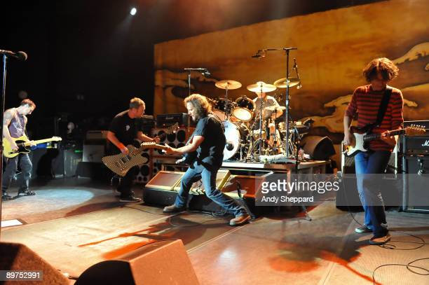 Mike McCready Jeff Ament Eddie Vedder and Stone Gossard of Pearl Jam perform on stage at Shepherds Bush Empire on August 11 2009 in London England