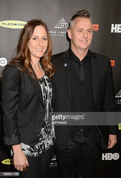 Mike McCready of Pearl Jam and wife Ashley O'Connor arrive at the 28th Annual Rock and Roll Hall of Fame Induction Ceremony at Nokia Theatre LA Live...