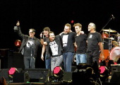 Mike McCready Stone Gossard Eddie Vedder Jeff Ament Matt Cameron and Boom Gaspar of Pearl Jam take their final bow on stage at the end of their...