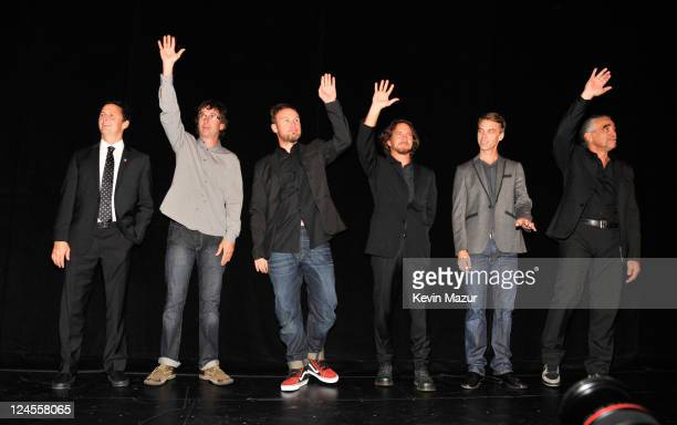 Mike McCready Stone Gossard Jeff Ament Eddie Vedder and Matt Cameron of Pearl Jam attend the 'Pearl Jam Twenty' premiere at the Princess of Wales...