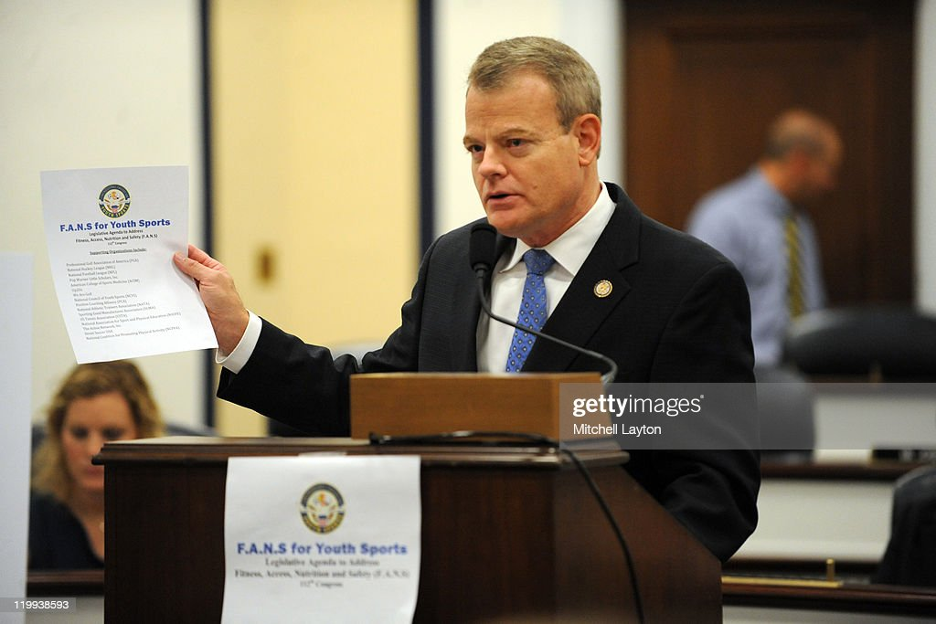 U.S. Mike McIntyre (D-NC), Founder and Co-Chairman of the Congressional Caucus on Youth Sports participates in an announcement on Capitol Hill on July 27, 2011 at the Rayburn House Office Building in Washington, DC
