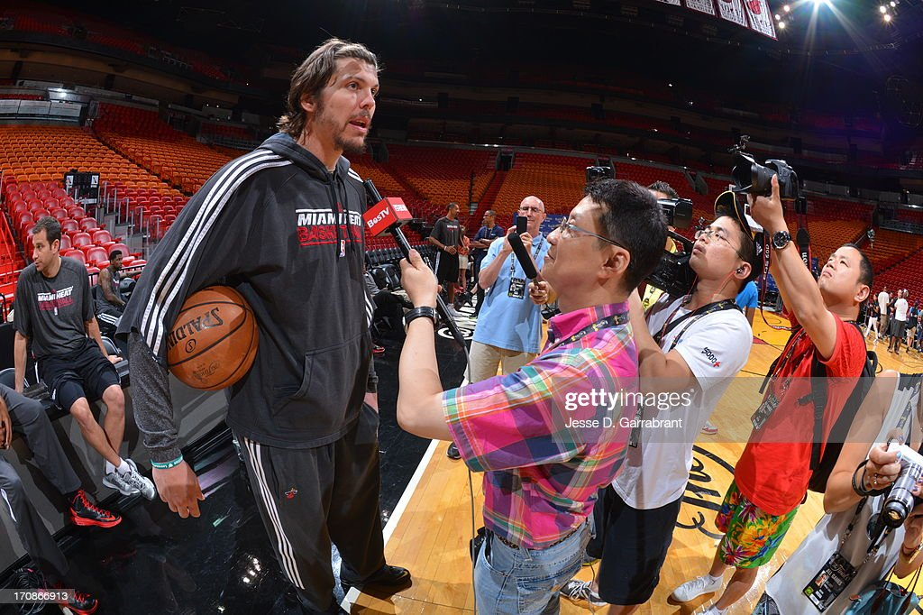 Mike Miller addresses the media as part of the 2013 NBA Finals on June 19, 2013 at American Airlines Arena in Miami, Florida.
