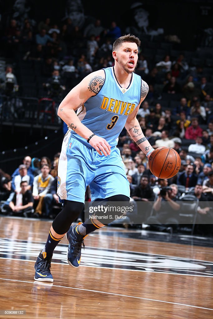 <a gi-track='captionPersonalityLinkClicked' href=/galleries/search?phrase=Mike+Miller+-+Basketball+Player&family=editorial&specificpeople=201801 ng-click='$event.stopPropagation()'>Mike Miller</a> #3 of the Denver Nuggets drives to the basket against the Brooklyn Nets during the game on February 8, 2016 at Barclays Center in Brooklyn, New York.
