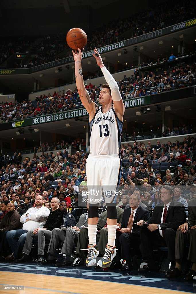 Mike Miller #13 of the Memphis Grizzlies shoots a three point basket against the Utah Jazz on December 23, 2013 at FedExForum in Memphis, Tennessee.