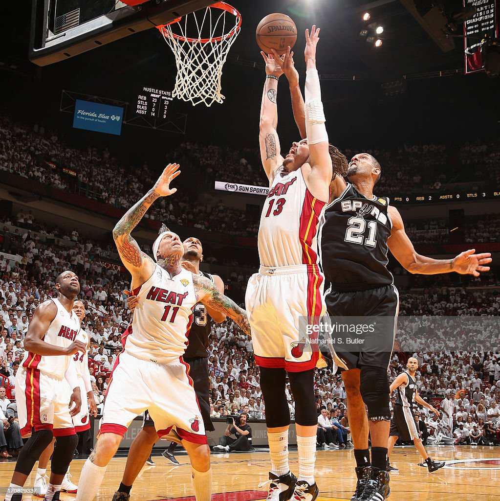 Mike Miller #13 of the Miami Heat and Tim Duncan #21 of the San Antonio Spurs go up for a rebound during Game Six of the 2013 NBA Finals on June 18, 2013 at American Airlines Arena in Miami, Florida.