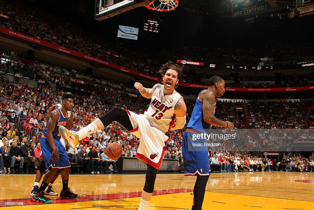 Mike Miller #13 of the Miami Heat dunks the ball against the New York Knicks during a game on April 2, 2013 at American Airlines Arena in Miami, Florida.