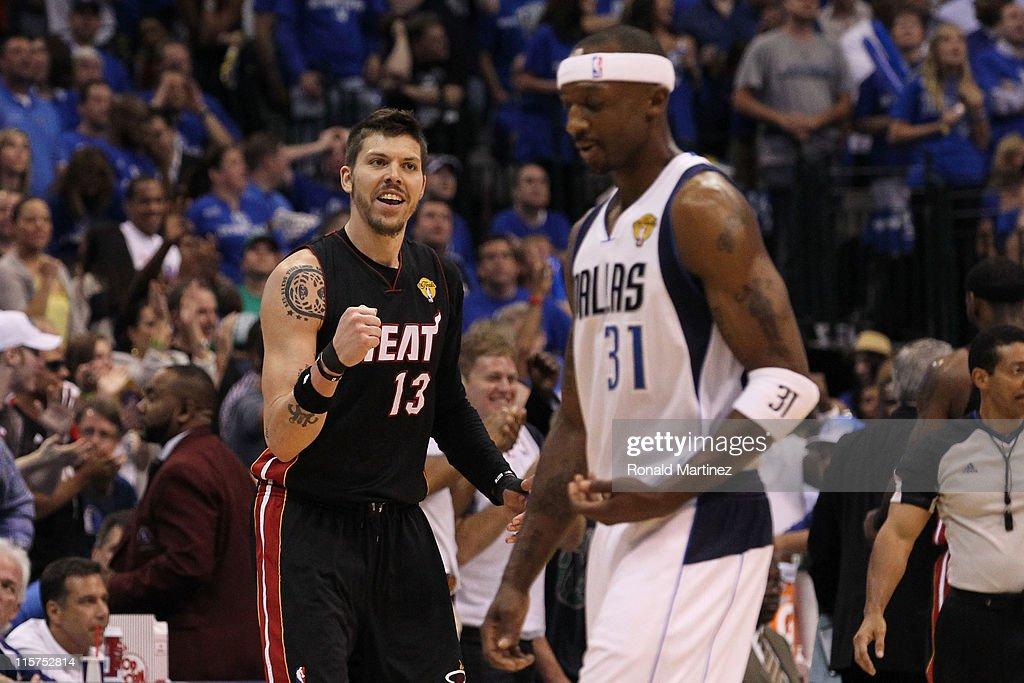 <a gi-track='captionPersonalityLinkClicked' href=/galleries/search?phrase=Mike+Miller+-+Basketball+Player&family=editorial&specificpeople=201801 ng-click='$event.stopPropagation()'>Mike Miller</a> #13 of the Miami Heat reacts against <a gi-track='captionPersonalityLinkClicked' href=/galleries/search?phrase=Jason+Terry&family=editorial&specificpeople=201734 ng-click='$event.stopPropagation()'>Jason Terry</a> #31 of the Dallas Mavericks in Game Five of the 2011 NBA Finals at American Airlines Center on June 9, 2011 in Dallas, Texas.
