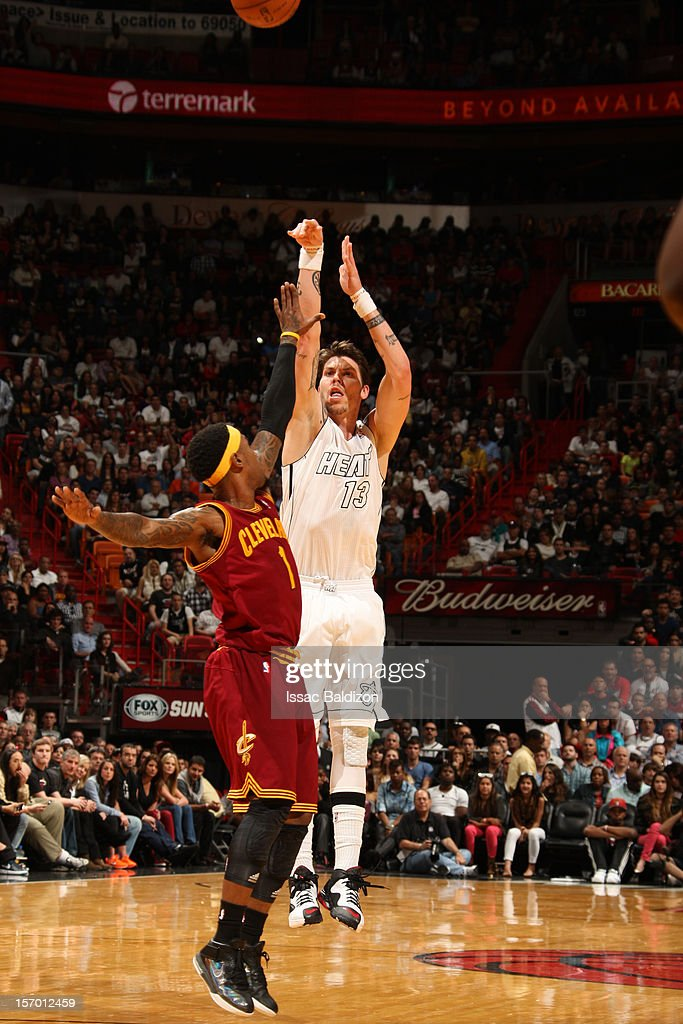 <a gi-track='captionPersonalityLinkClicked' href=/galleries/search?phrase=Mike+Miller+-+Basketball+Player&family=editorial&specificpeople=201801 ng-click='$event.stopPropagation()'>Mike Miller</a> #13 of the Miami Heat shoots a jump shot against <a gi-track='captionPersonalityLinkClicked' href=/galleries/search?phrase=Daniel+Gibson&family=editorial&specificpeople=213906 ng-click='$event.stopPropagation()'>Daniel Gibson</a> #1 of the Cleveland Cavaliers on November 24, 2012 at American Airlines Arena in Miami, Florida.