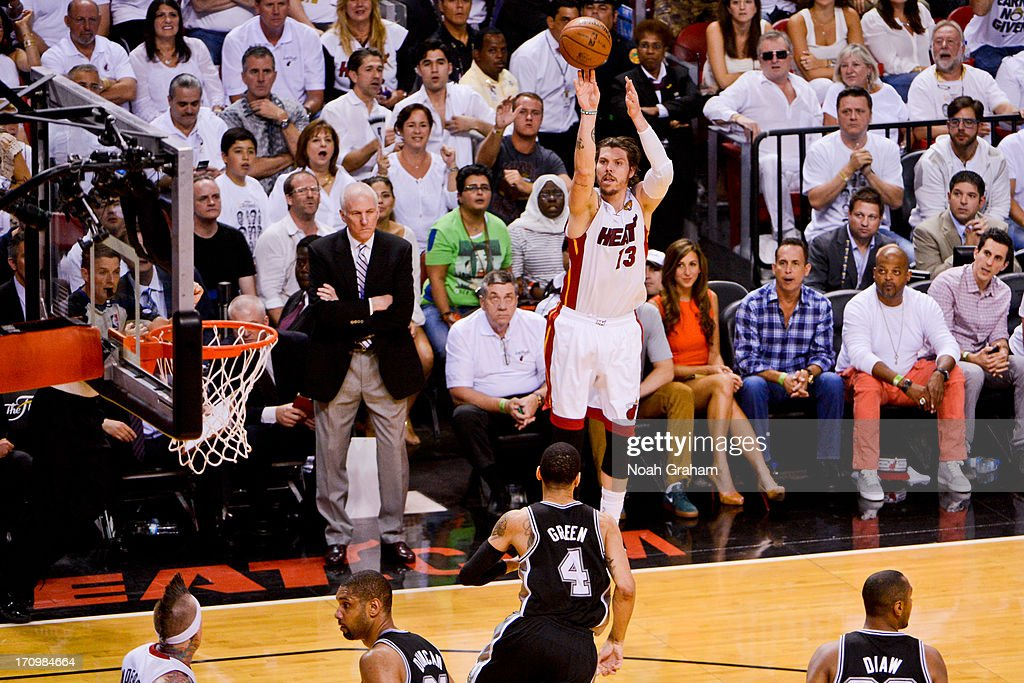 Mike Miller #13 of the Miami Heat shoots a three-pointer against the San Antonio Spurs during Game Seven of the 2013 NBA Finals on June 20, 2013 at American Airlines Arena in Miami, Florida.