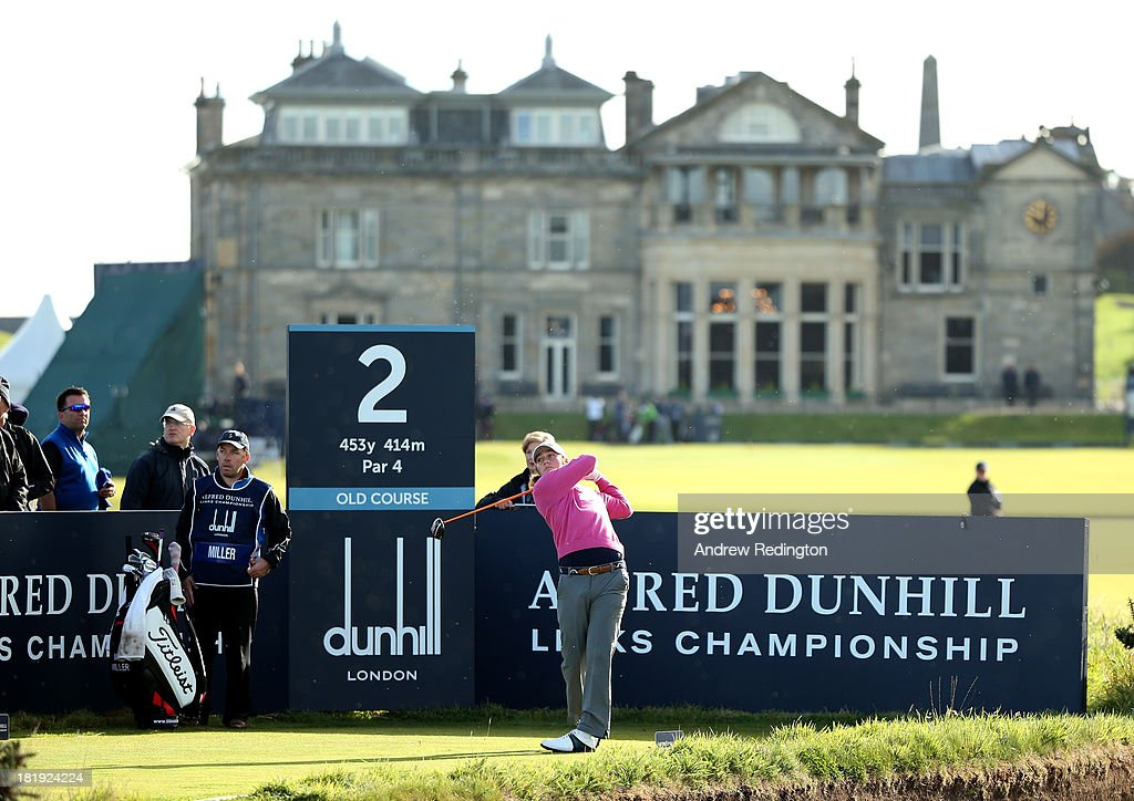 Mike Miller of the USA plays off the second tee during the first round of the Alfred Dunhill Links Championship on The Old Course, at St Andrews on September 26, 2013 in St Andrews, Scotland.