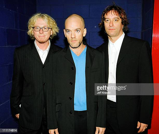 Mike Mills Michael Stipe and Peter Buck of REM during 1998 MTV European Music Awards in Milan Italy