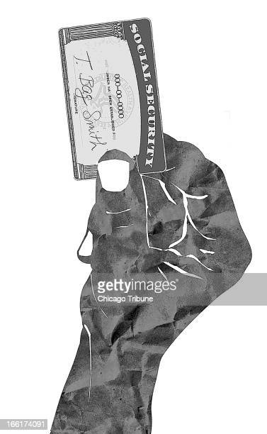 Mike Miner BW illustration of a crumpledpaper hand holding a Social Security card labeled 'Tea Bag Smith' Can be used with stories about tax protests...