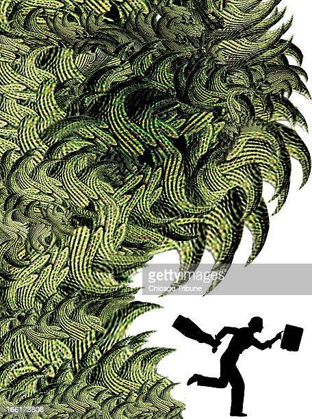 Mike Miner color illustration of businessman's silhouette running away from raging wave of dollarbill flames