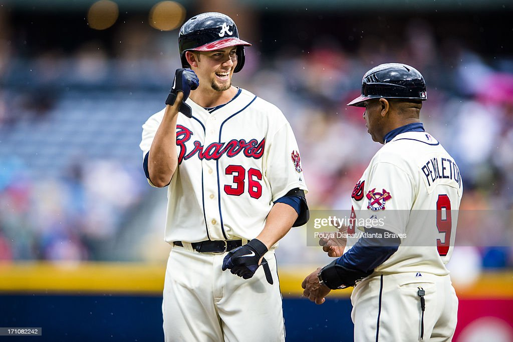 Mike Minor #36 and Terry Pendleton #9 of the Atlanta Braves celebrate against the Los Angeles Dodgers at Turner Field on May 19, 2013 in Atlanta, Georgia. The Braves won 5-2.