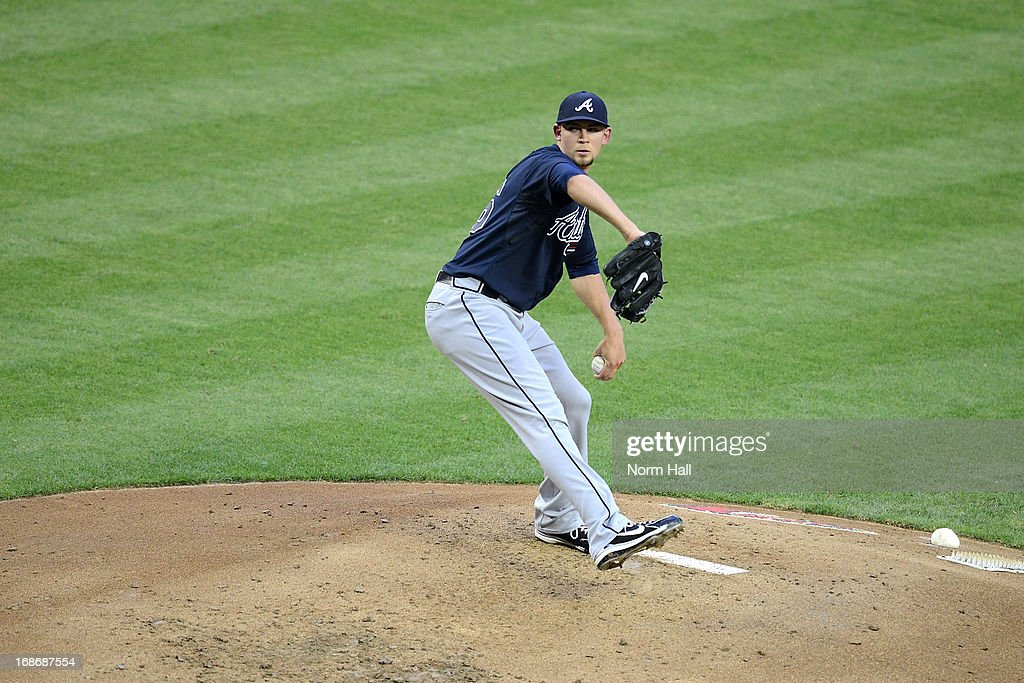 <a gi-track='captionPersonalityLinkClicked' href=/galleries/search?phrase=Mike+Minor+-+Baseball+Player&family=editorial&specificpeople=6795776 ng-click='$event.stopPropagation()'>Mike Minor</a> #36 of the Atlanta Braves delivers a pitch against the Arizona Diamondbacks at Chase Field on May 13, 2013 in Phoenix, Arizona.