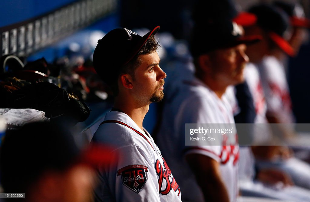 <a gi-track='captionPersonalityLinkClicked' href=/galleries/search?phrase=Mike+Minor+-+Baseball+Player&family=editorial&specificpeople=6795776 ng-click='$event.stopPropagation()'>Mike Minor</a> #36 of the Atlanta Braves looks on from the dugout in the ninth inning of their 4-0 shutout loss to the Philadelphia Phillies at Turner Field on September 2, 2014 in Atlanta, Georgia.