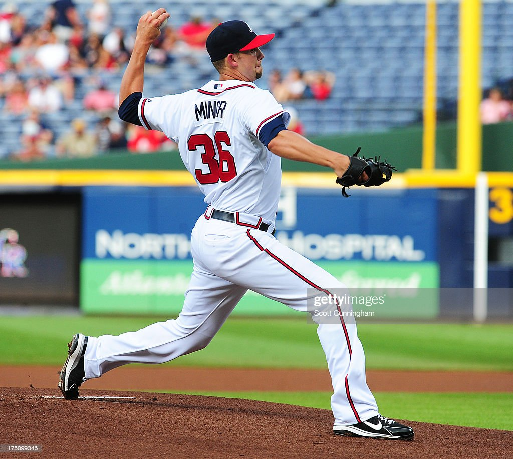 <a gi-track='captionPersonalityLinkClicked' href=/galleries/search?phrase=Mike+Minor+-+Baseball+Player&family=editorial&specificpeople=6795776 ng-click='$event.stopPropagation()'>Mike Minor</a> #36 of the Atlanta Braves pitches against the Colorado Rockies at Turner Field on July 31, 2013 in Atlanta, Georgia.