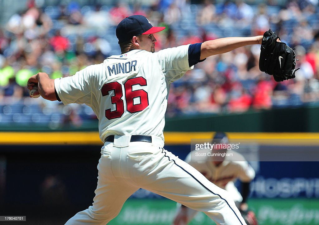 <a gi-track='captionPersonalityLinkClicked' href=/galleries/search?phrase=Mike+Minor+-+Baseball+Player&family=editorial&specificpeople=6795776 ng-click='$event.stopPropagation()'>Mike Minor</a> #36 of the Atlanta Braves pitches against the Miami Marlins at Turner Field on August 11, 2013 in Atlanta, Georgia.