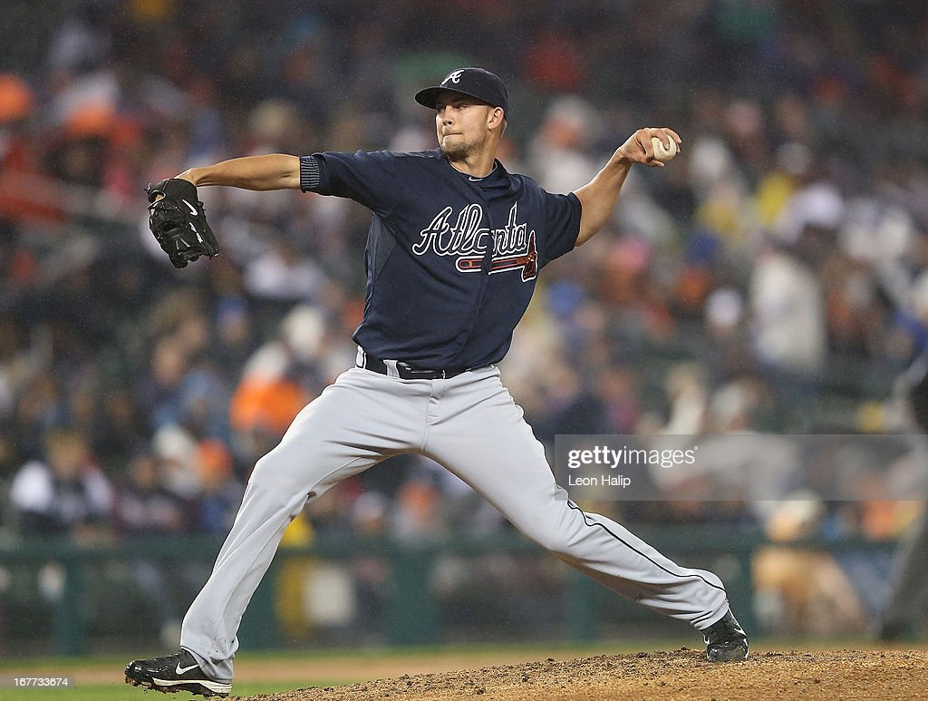 Mike Minor #36 of the Atlanta Braves pitches in the sixth inning of the game against the Detroit Tigers at Comerica Park on April 28, 2013 in Detroit, Michigan.