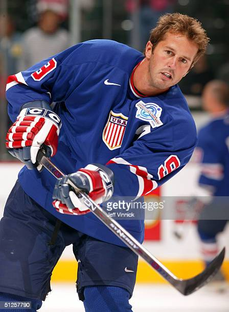 Mike Modano of Team USA fires a shot during warmup before their game against Russia at the World Cup of Hockey on September 2 2004 at the Xcel Center...