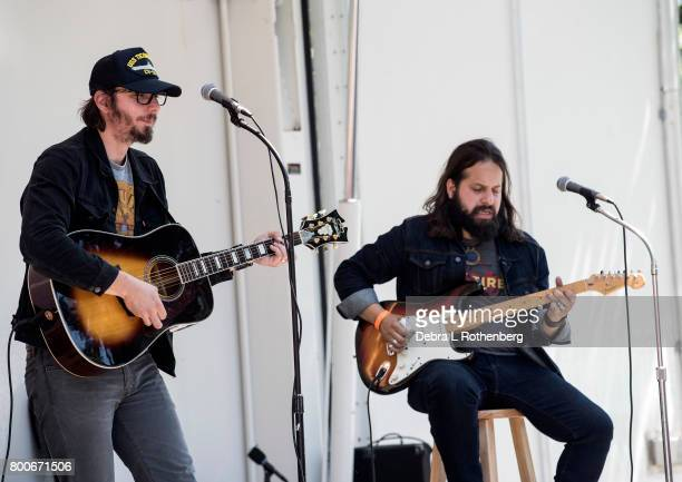 Mike Montail and Jonathan Bonilla of The Hollis Brown Band at the RocklandBergen Music Festival at German Masonic Park on June 24 2017 in Tappan New...