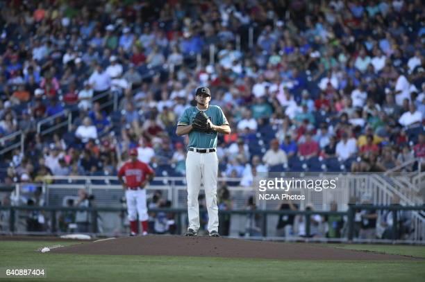 Mike Morrison of Coastal Carolina University takes a breath on the mound against University of Arizona during the Division I Men's Baseball...