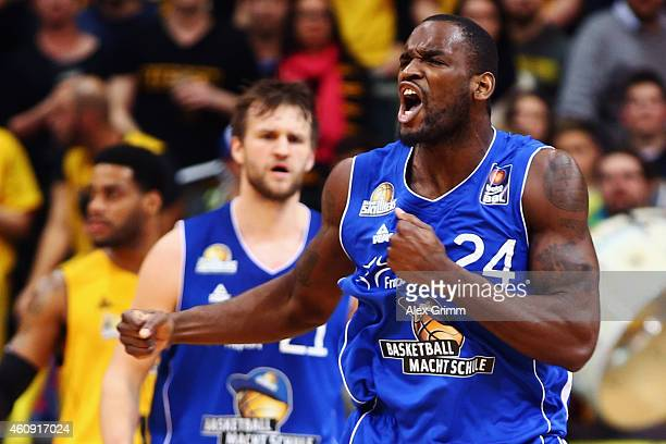 Mike Morrison of Frankfurt reacts after scoring during the Beko BBL basketball match between MHP Riesen Ludwigsburg and Fraport Skyliners at MHP...