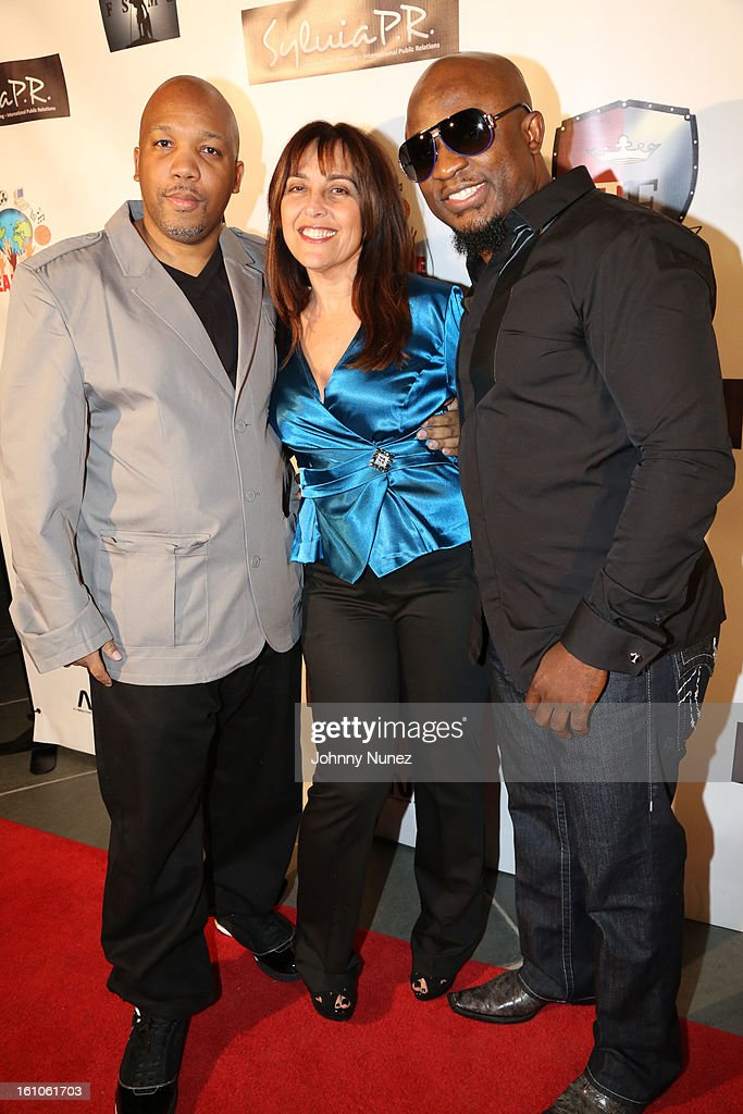Mike Mosely, Lelia Steinberg and Femi Ojetunde attend the Femdouble Producers Choice Honorees Gala at Bel Air Ship Mansion on February 8, 2013 in Belair, California.