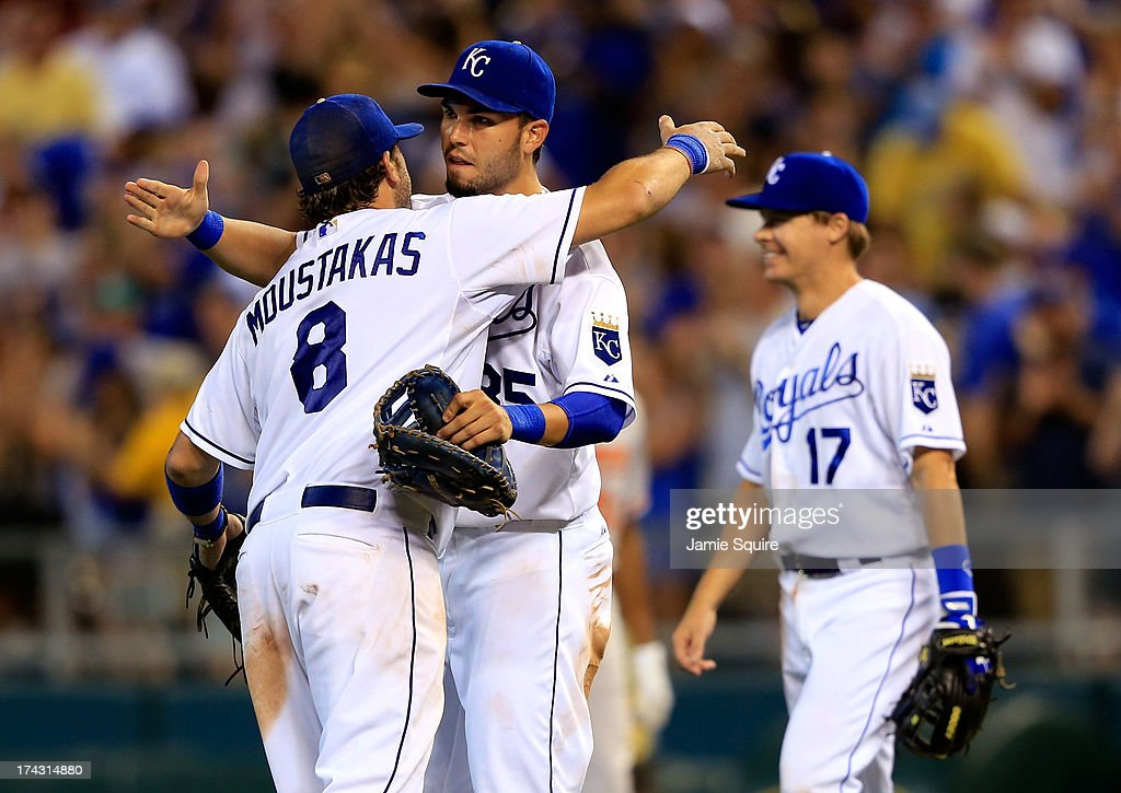 <a gi-track='captionPersonalityLinkClicked' href=/galleries/search?phrase=Mike+Moustakas&family=editorial&specificpeople=6780077 ng-click='$event.stopPropagation()'>Mike Moustakas</a> #8 and <a gi-track='captionPersonalityLinkClicked' href=/galleries/search?phrase=Eric+Hosmer&family=editorial&specificpeople=7091345 ng-click='$event.stopPropagation()'>Eric Hosmer</a> #35 of the Kansas City Royals embrace after the Royals defeated the Baltimore Orioles 3-2 to win the game at Kauffman Stadium on July 23, 2013 in Kansas City, Missouri.