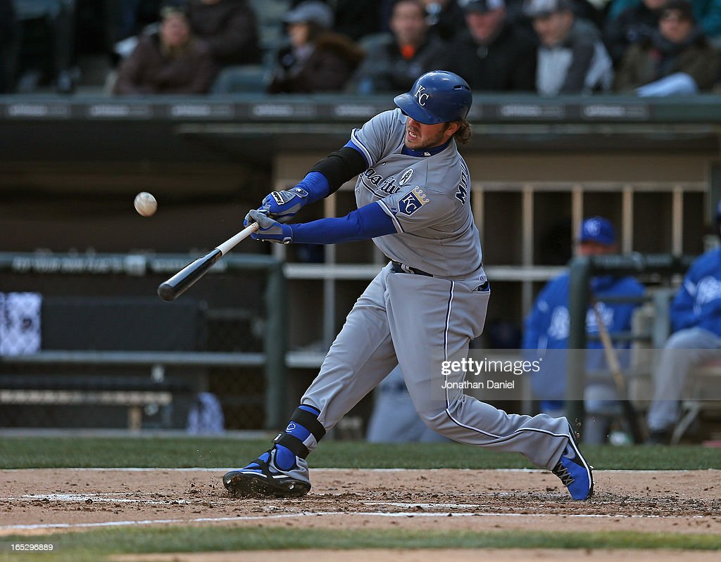 Mike Moustakas #8 of the Kansas City Royals bats against the Chicago White Sox during the Opening Day game at U.S. Cellular Field on April 1, 2013 in Chicago, Illinois. The White Sox defeated the Royals 1-0.