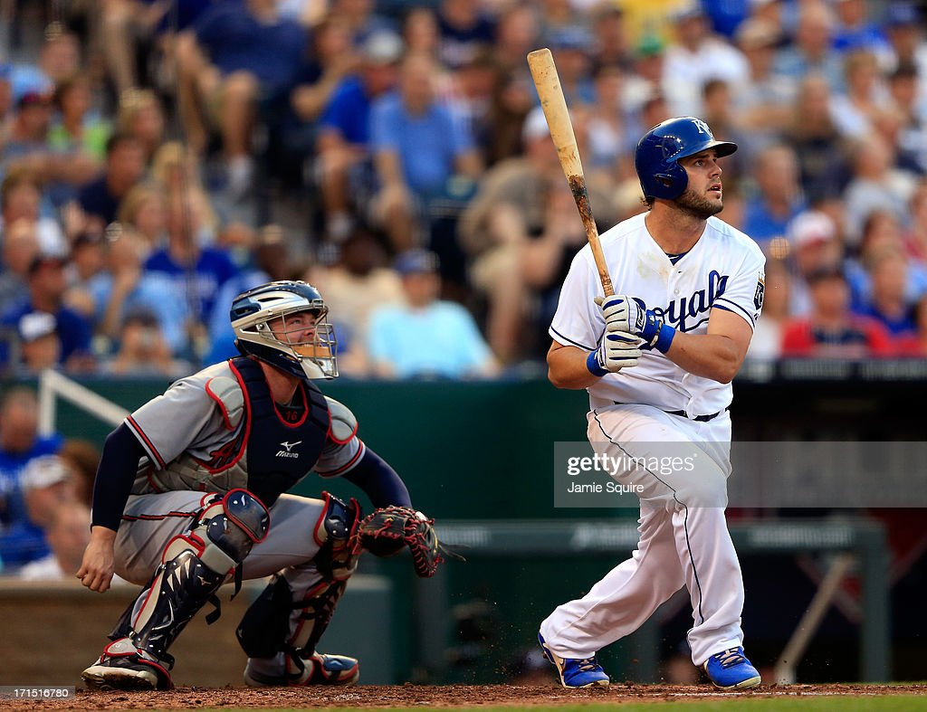 <a gi-track='captionPersonalityLinkClicked' href=/galleries/search?phrase=Mike+Moustakas&family=editorial&specificpeople=6780077 ng-click='$event.stopPropagation()'>Mike Moustakas</a> #8 of the Kansas City Royals bats during the game against the Atlanta Braves at Kauffman Stadium on June 25, 2013 in Kansas City, Missouri.