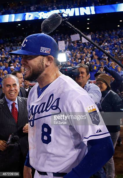 Mike Moustakas of the Kansas City Royals celebrates after defeating the Baltimore Orioles 2 to 1 in Game Three of the American League Championship...