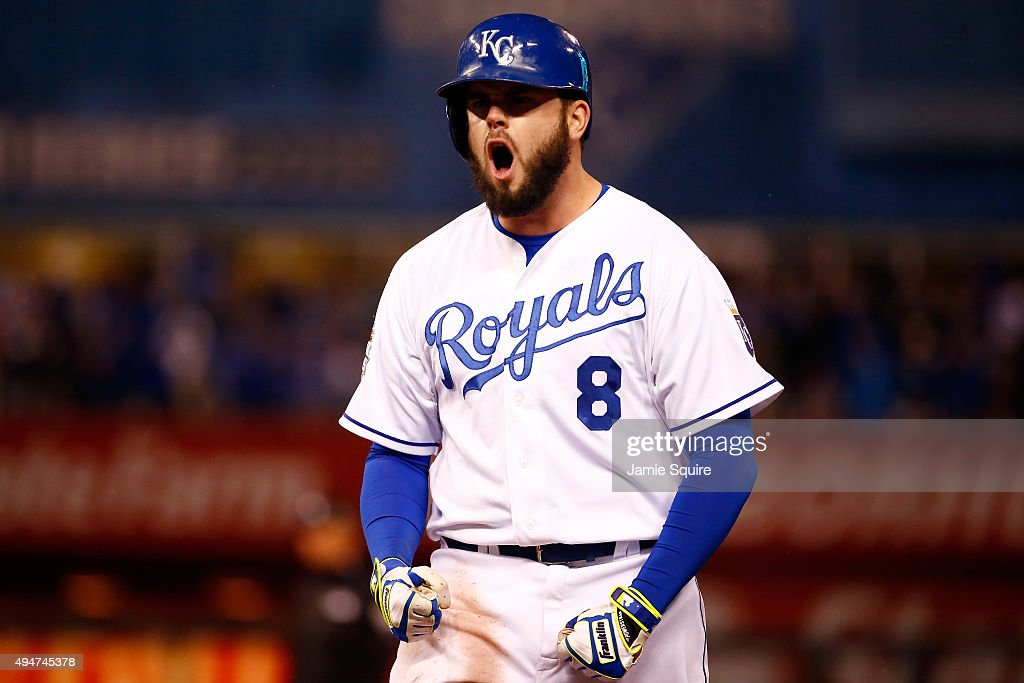 <a gi-track='captionPersonalityLinkClicked' href=/galleries/search?phrase=Mike+Moustakas&family=editorial&specificpeople=6780077 ng-click='$event.stopPropagation()'>Mike Moustakas</a> #8 of the Kansas City Royals celebrates after hitting an RBI single to score Eric Hosmer #35 of the Kansas City Royals (not pictured) in the fifth inning against the New York Mets in Game Two of the 2015 World Series at Kauffman Stadium on October 28, 2015 in Kansas City, Missouri.