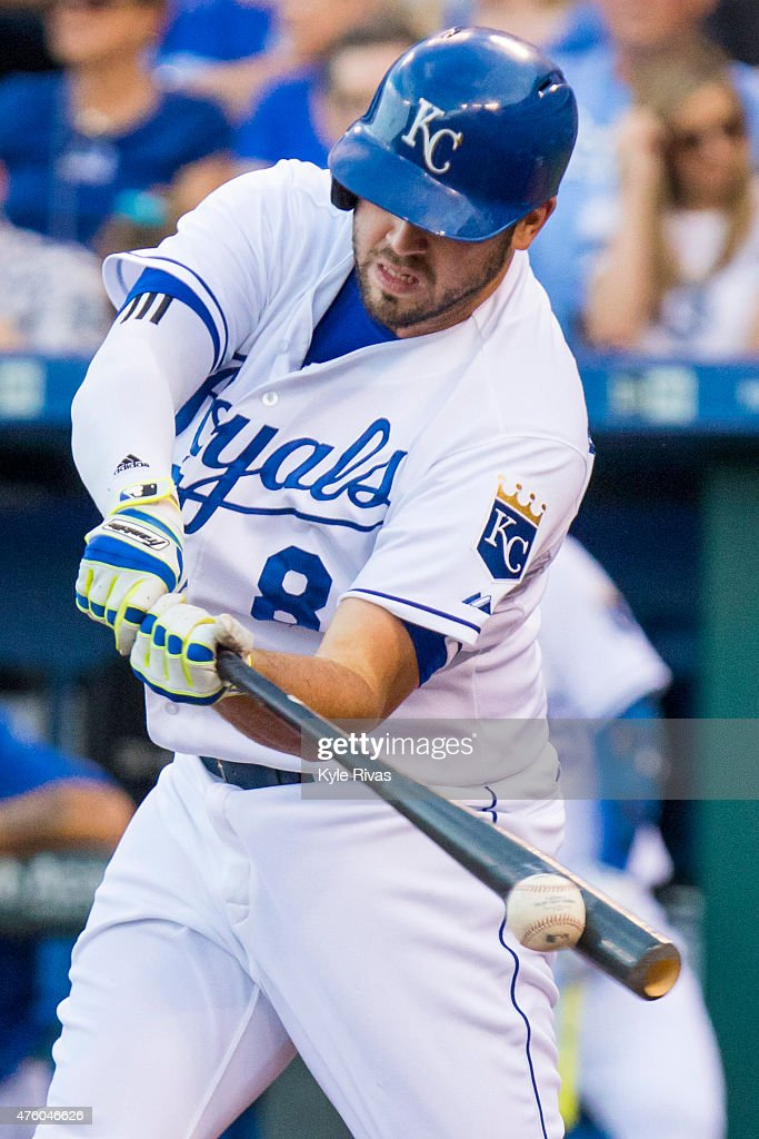 <a gi-track='captionPersonalityLinkClicked' href=/galleries/search?phrase=Mike+Moustakas&family=editorial&specificpeople=6780077 ng-click='$event.stopPropagation()'>Mike Moustakas</a> #8 of the Kansas City Royals connects on a pitch by Chi Chi Gonzalez #21 of the Texas Rangers in the first inning at Kauffman Stadium on June 5, 2015 in Kansas City, Missouri.