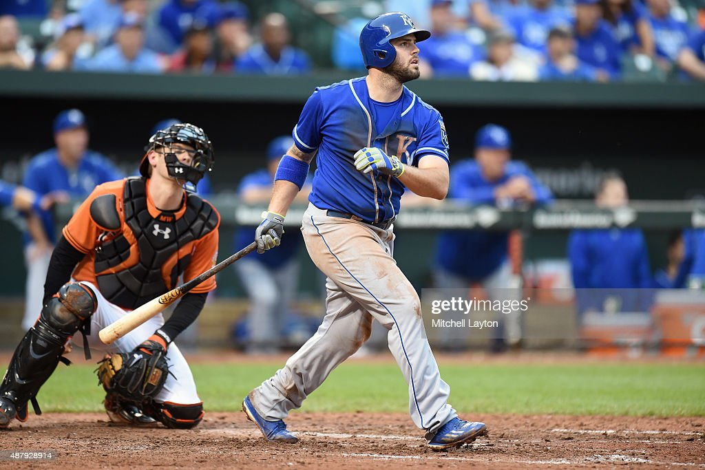 <a gi-track='captionPersonalityLinkClicked' href=/galleries/search?phrase=Mike+Moustakas&family=editorial&specificpeople=6780077 ng-click='$event.stopPropagation()'>Mike Moustakas</a> #8 of the Kansas City Royals hits a grand slam in the seventh inning during a baseball game against the Baltimore Orioles at Oriole Park at Camden Yards on September 12, 2015 in Baltimore, Maryland.