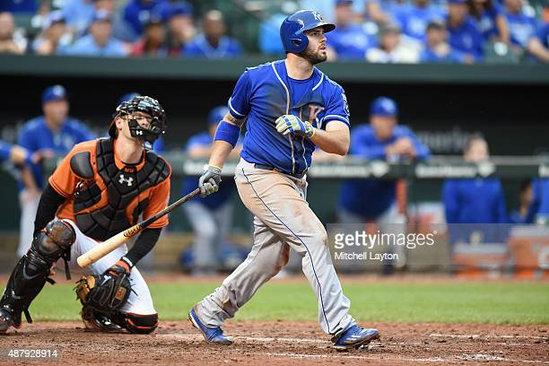 Mike Moustakas of the Kansas City Royals hits a grand slam in the seventh inning during a baseball game against the Baltimore Orioles at Oriole Park...