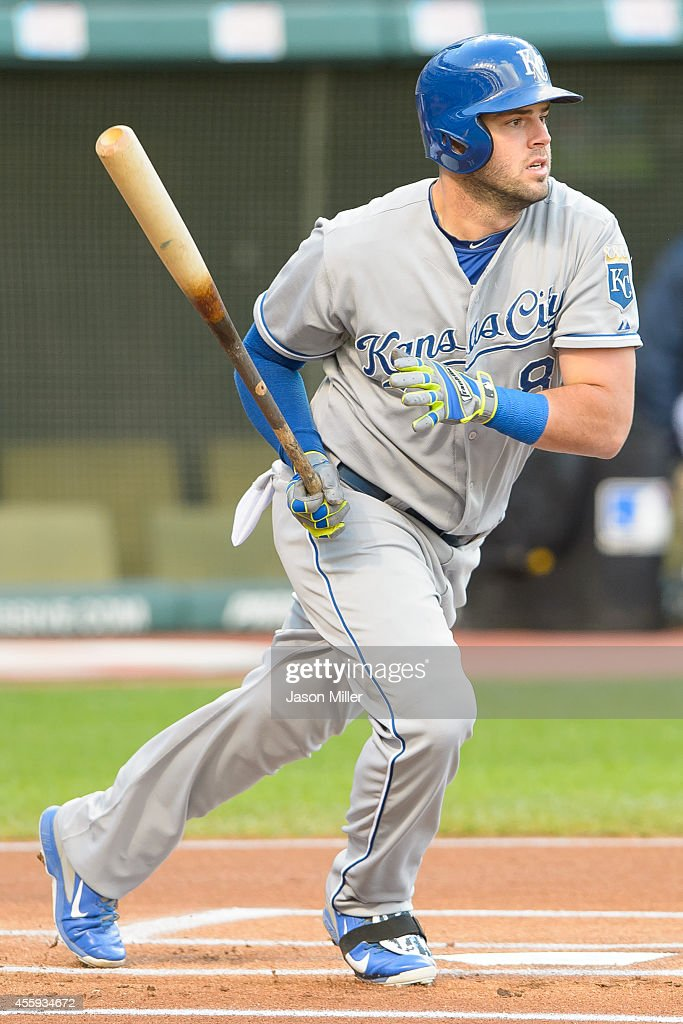 <a gi-track='captionPersonalityLinkClicked' href=/galleries/search?phrase=Mike+Moustakas&family=editorial&specificpeople=6780077 ng-click='$event.stopPropagation()'>Mike Moustakas</a> #8 of the Kansas City Royals hits a single during the resumed 10th inning of the August 31 suspended game in Kansas City at Progressive Field on September 22, 2014 in Cleveland, Ohio.