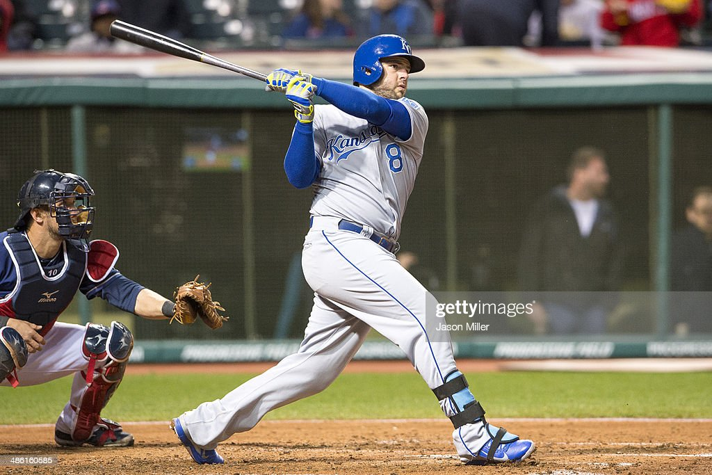 <a gi-track='captionPersonalityLinkClicked' href=/galleries/search?phrase=Mike+Moustakas&family=editorial&specificpeople=6780077 ng-click='$event.stopPropagation()'>Mike Moustakas</a> #8 of the Kansas City Royals hits a three run home run during the fourth inning against the Cleveland Indians at Progressive Field on April 22, 2014 in Cleveland, Ohio.