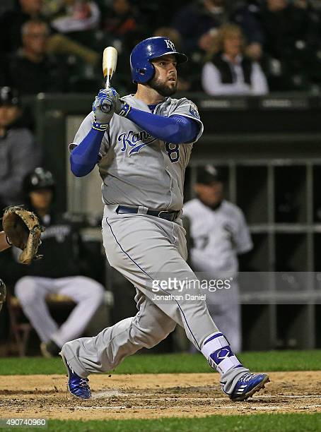 Mike Moustakas of the Kansas City Royals hits a tworun home run in the 6th inning against the Chicago White Sox at US Cellular Field on September 30...
