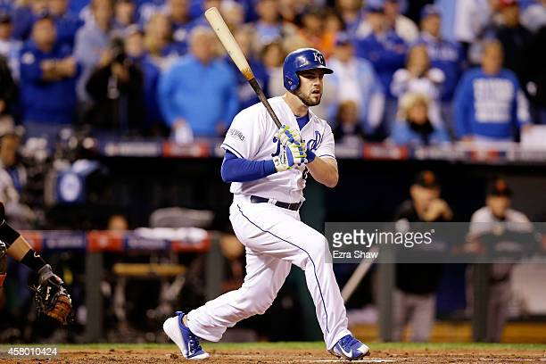 Mike Moustakas of the Kansas City Royals hits an RBI double in the second inning against the San Francisco Giants during Game Six of the 2014 World...