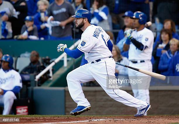 Mike Moustakas of the Kansas City Royals hits an RBI single in the seventh inning against the Toronto Blue Jays in game two of the American League...