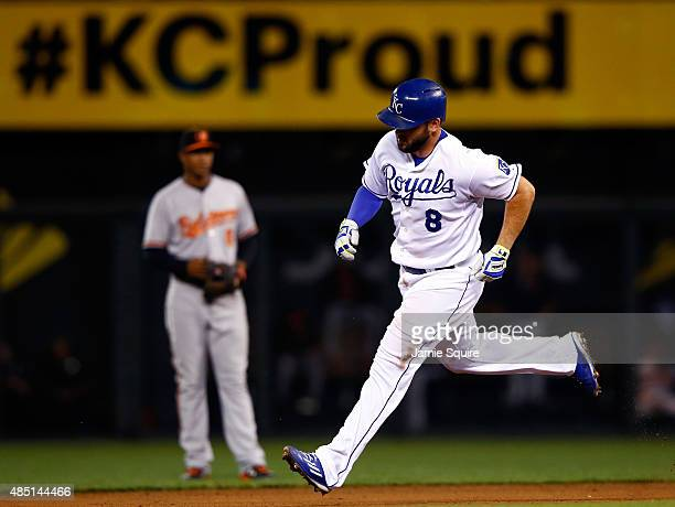 Mike Moustakas of the Kansas City Royals is rounds the bases as he hits a home run during the 6th inning of the game against the Baltimore Orioles at...