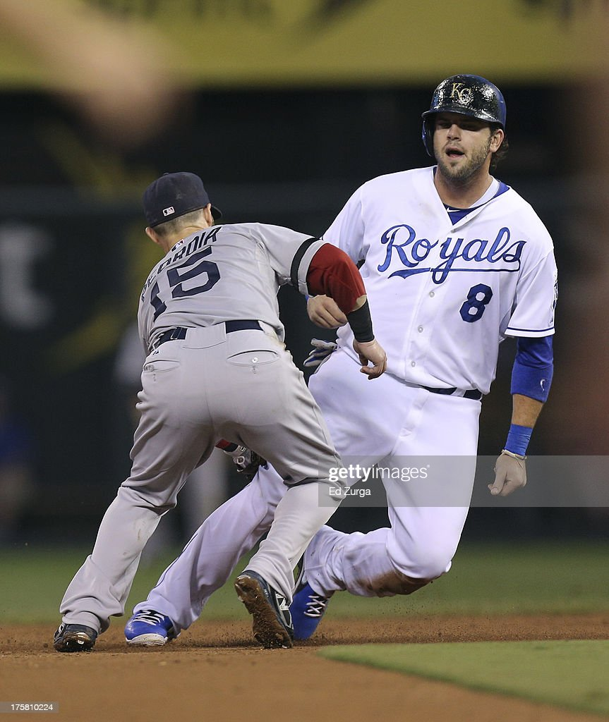 <a gi-track='captionPersonalityLinkClicked' href=/galleries/search?phrase=Mike+Moustakas&family=editorial&specificpeople=6780077 ng-click='$event.stopPropagation()'>Mike Moustakas</a> #8 of the Kansas City Royals is tagged out by <a gi-track='captionPersonalityLinkClicked' href=/galleries/search?phrase=Dustin+Pedroia&family=editorial&specificpeople=836339 ng-click='$event.stopPropagation()'>Dustin Pedroia</a> #15 of the Boston Red Sox as he tries to steal second in the fourth inning at Kauffman Stadium August, 8, 2013 in Kansas City, Missouri.