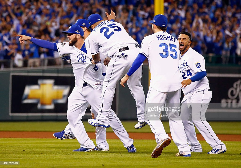 Mike Moustakas of the Kansas City Royals Kendrys Morales of the Kansas City Royals Eric Hosmer of the Kansas City Royals and Christian Colon of the...