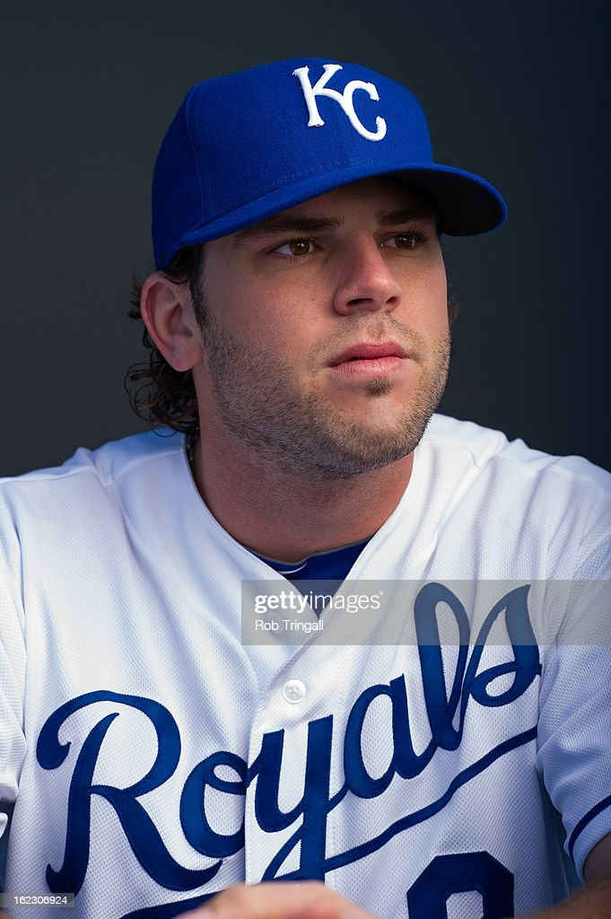 <a gi-track='captionPersonalityLinkClicked' href=/galleries/search?phrase=Mike+Moustakas&family=editorial&specificpeople=6780077 ng-click='$event.stopPropagation()'>Mike Moustakas</a> #8 of the Kansas City Royals poses for a portrait on photo day at the Surprise Sports Complex on February 21, 2013 in Surprise, Arizona.