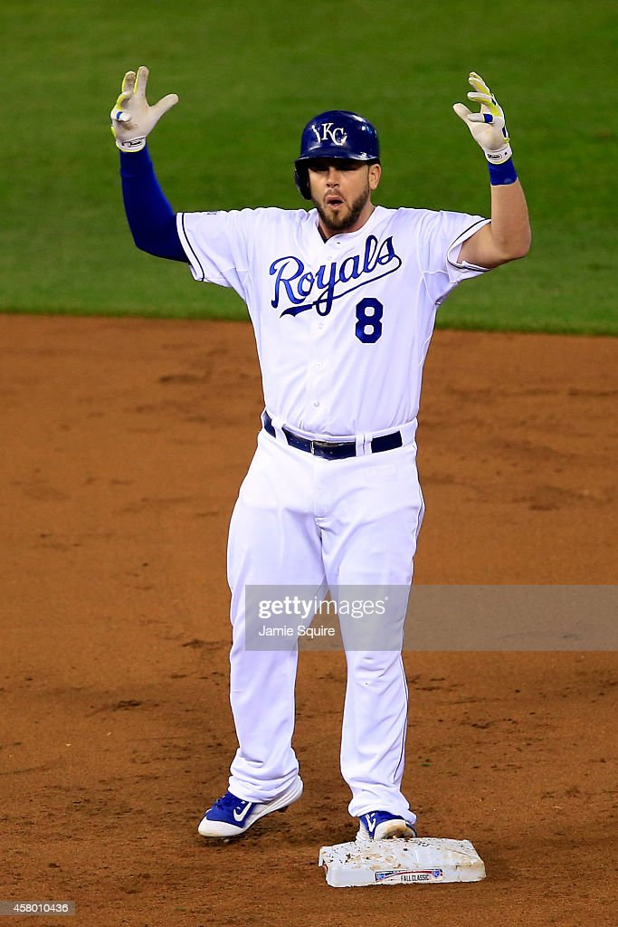<a gi-track='captionPersonalityLinkClicked' href=/galleries/search?phrase=Mike+Moustakas&family=editorial&specificpeople=6780077 ng-click='$event.stopPropagation()'>Mike Moustakas</a> #8 of the Kansas City Royals reacts after hitting an RBI double in the second inning against the San Francisco Giants during Game Six of the 2014 World Series at Kauffman Stadium on October 28, 2014 in Kansas City, Missouri.