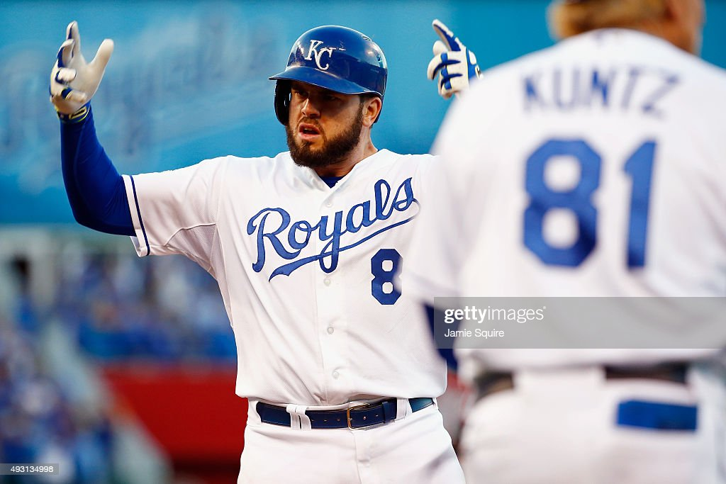 <a gi-track='captionPersonalityLinkClicked' href=/galleries/search?phrase=Mike+Moustakas&family=editorial&specificpeople=6780077 ng-click='$event.stopPropagation()'>Mike Moustakas</a> #8 of the Kansas City Royals reacts after hitting an RBI single in the eighth inning against the Toronto Blue Jays in game two of the American League Championship Series at Kauffman Stadium on October 17, 2015 in Kansas City, Missouri.